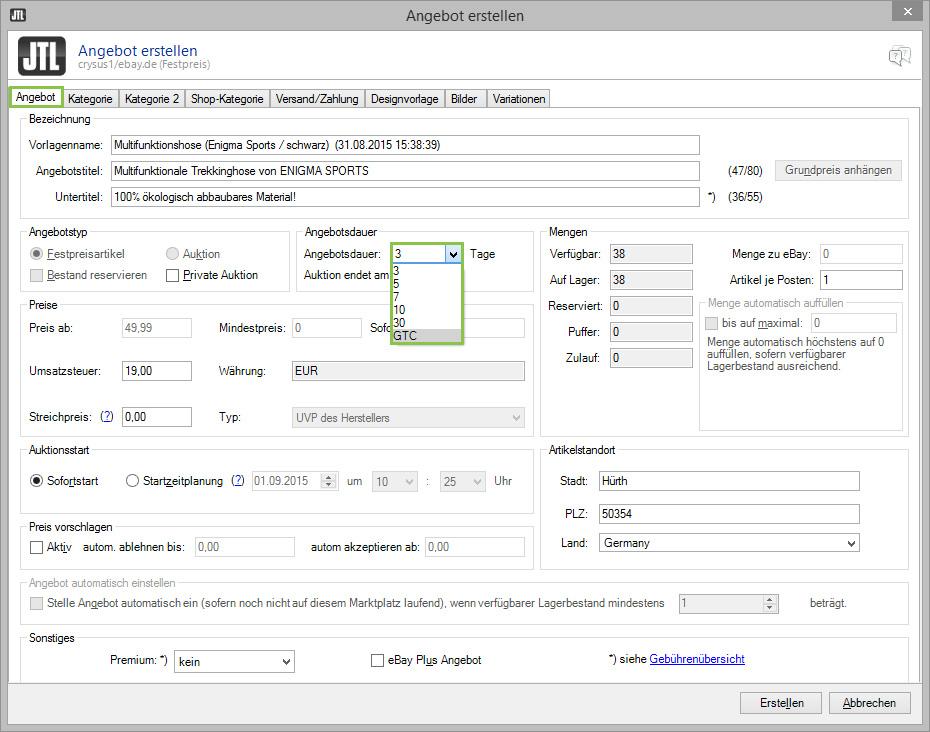 eBay-Angebot aus JTL-Wawi erstellen