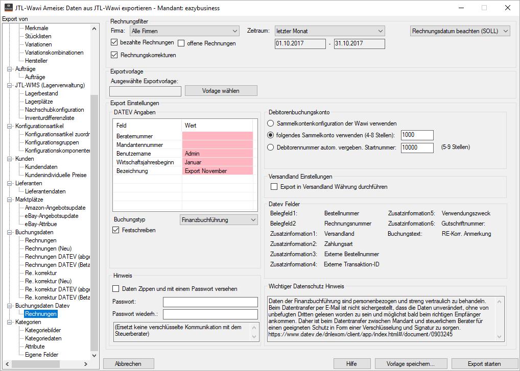 DATEV-Export in JTL-Ameise