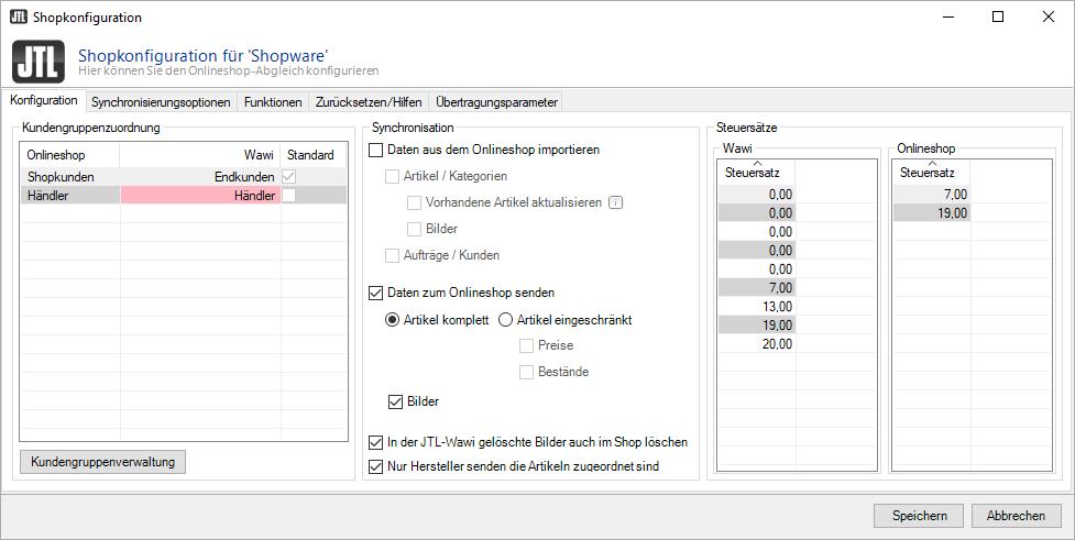 Optionen für JTL-Connector
