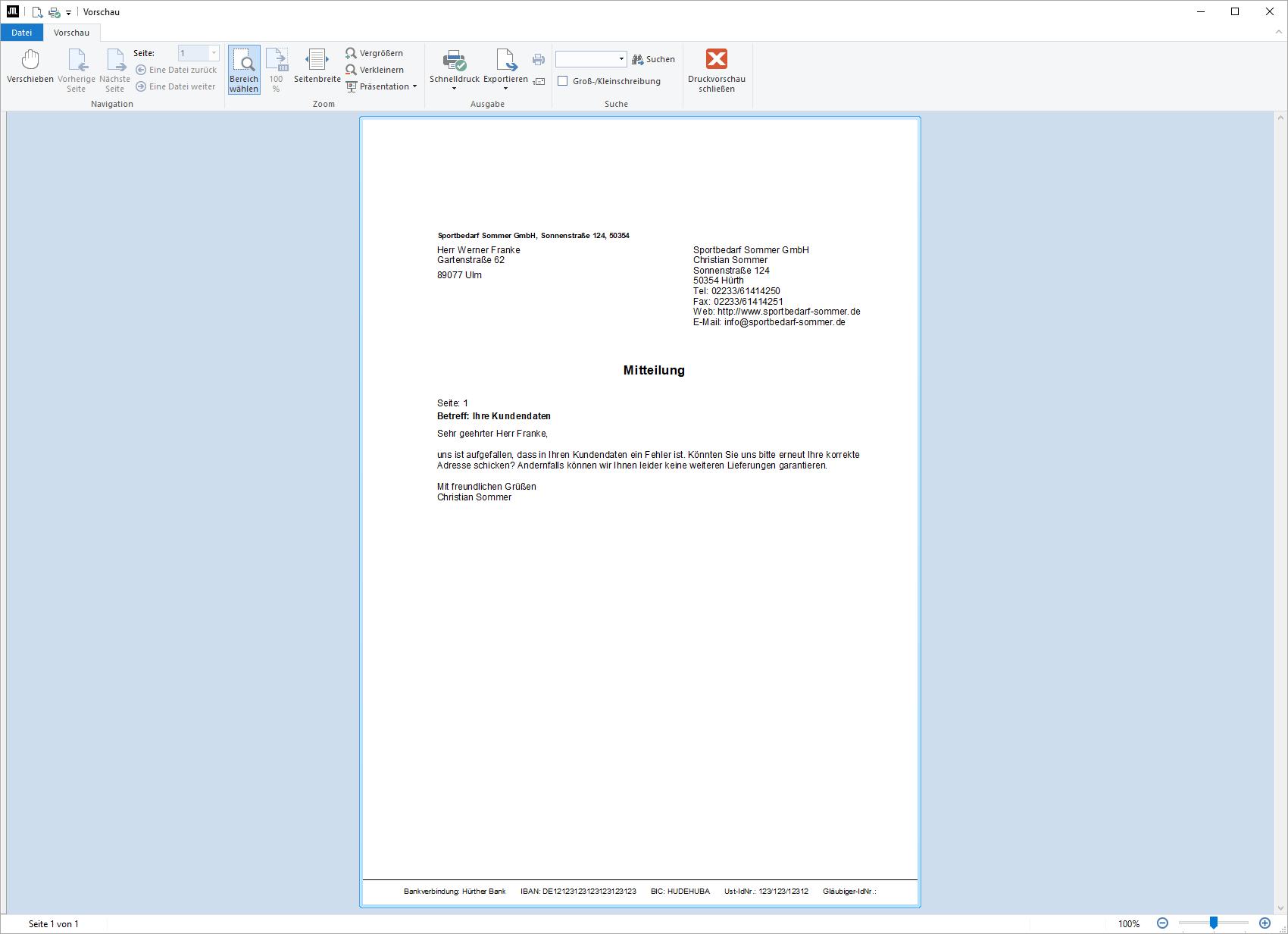 Druckvorlage für eine Kundennachricht