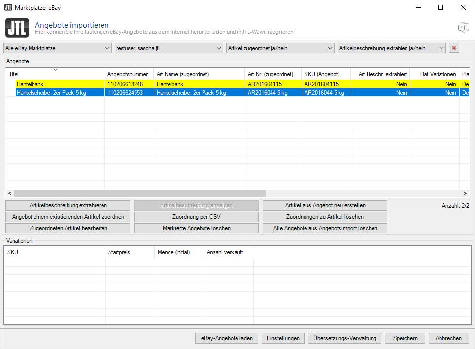 Angebotsimporter für eBay-Angebote