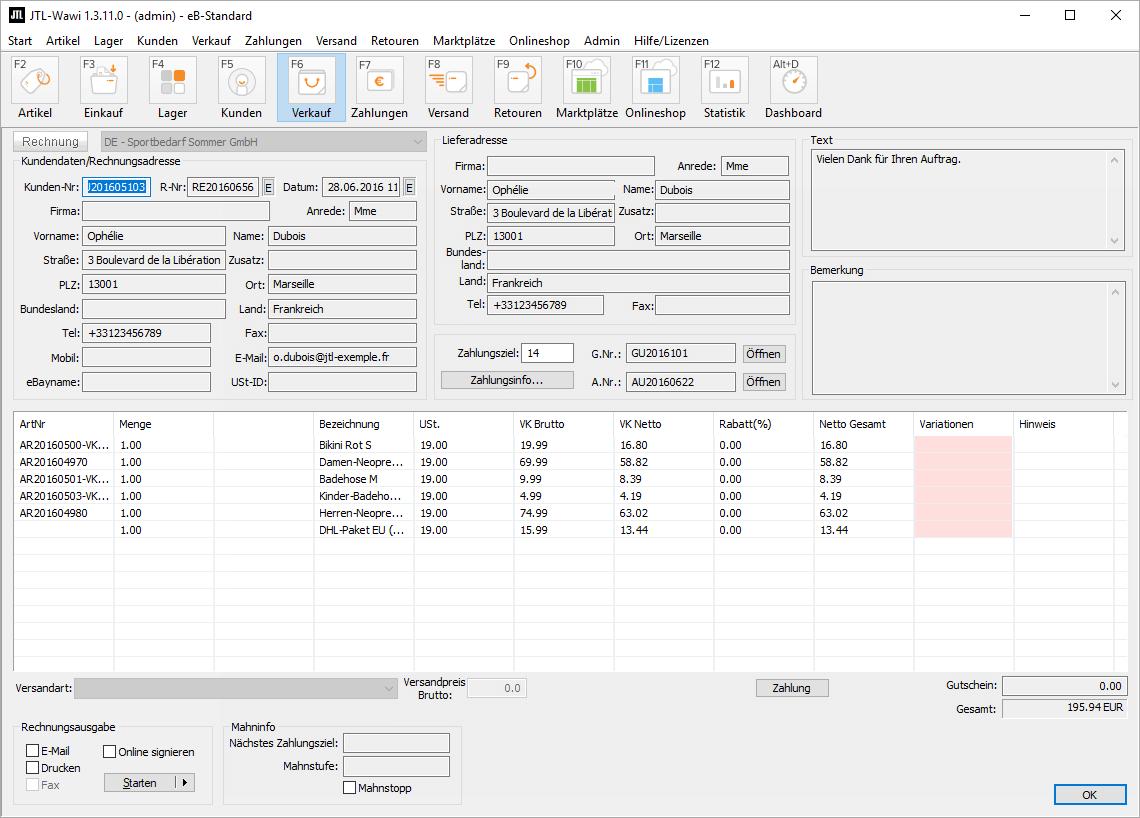 Detailansicht einer Rechnung in JTL-Wawi