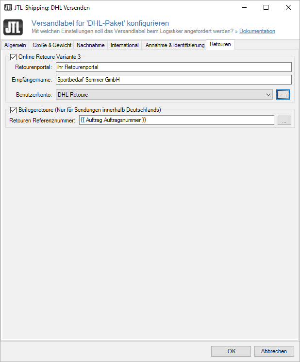 Versandart für Retourenetikett konfigurieren