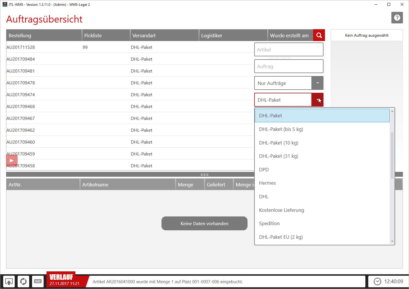 Filter für Aufträge