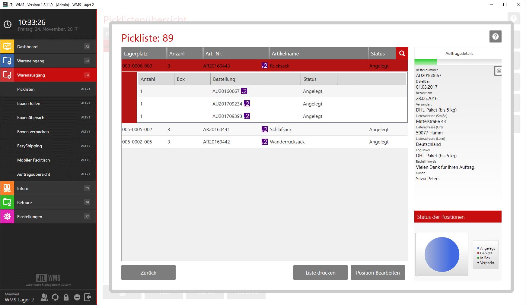 Versandprozesse in der Seitenleiste
