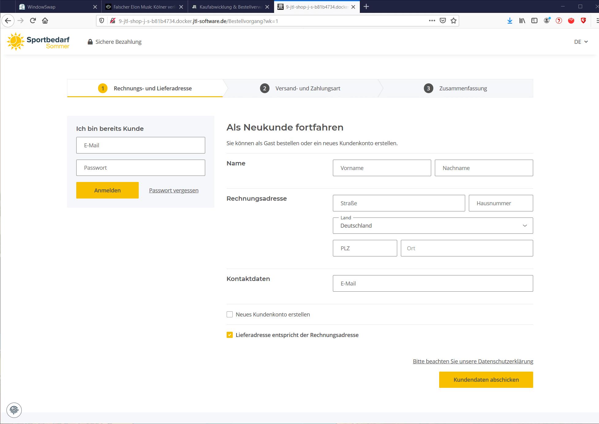 Schritt 1: Anmeldung oder Registrierung im Onlineshop
