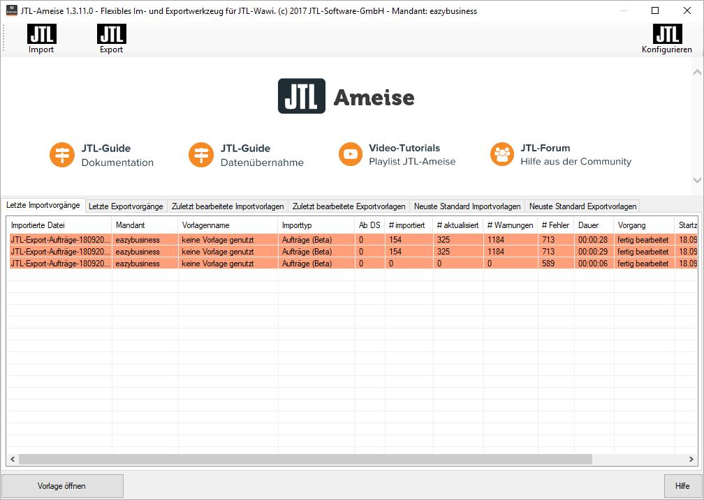 Import- / Export-Werkzeug JTL-Ameise