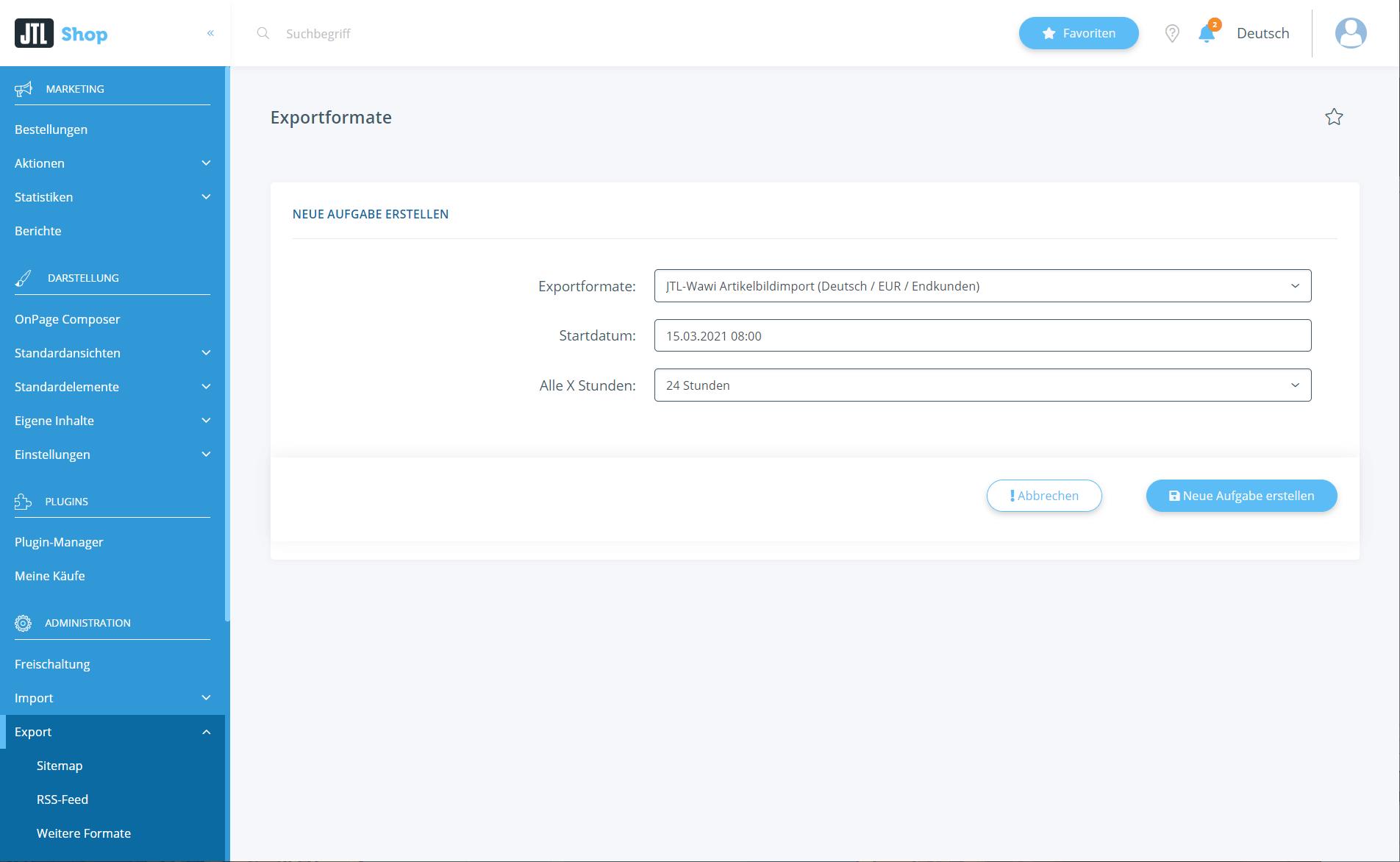 Aufgabenplaner für Exportformate