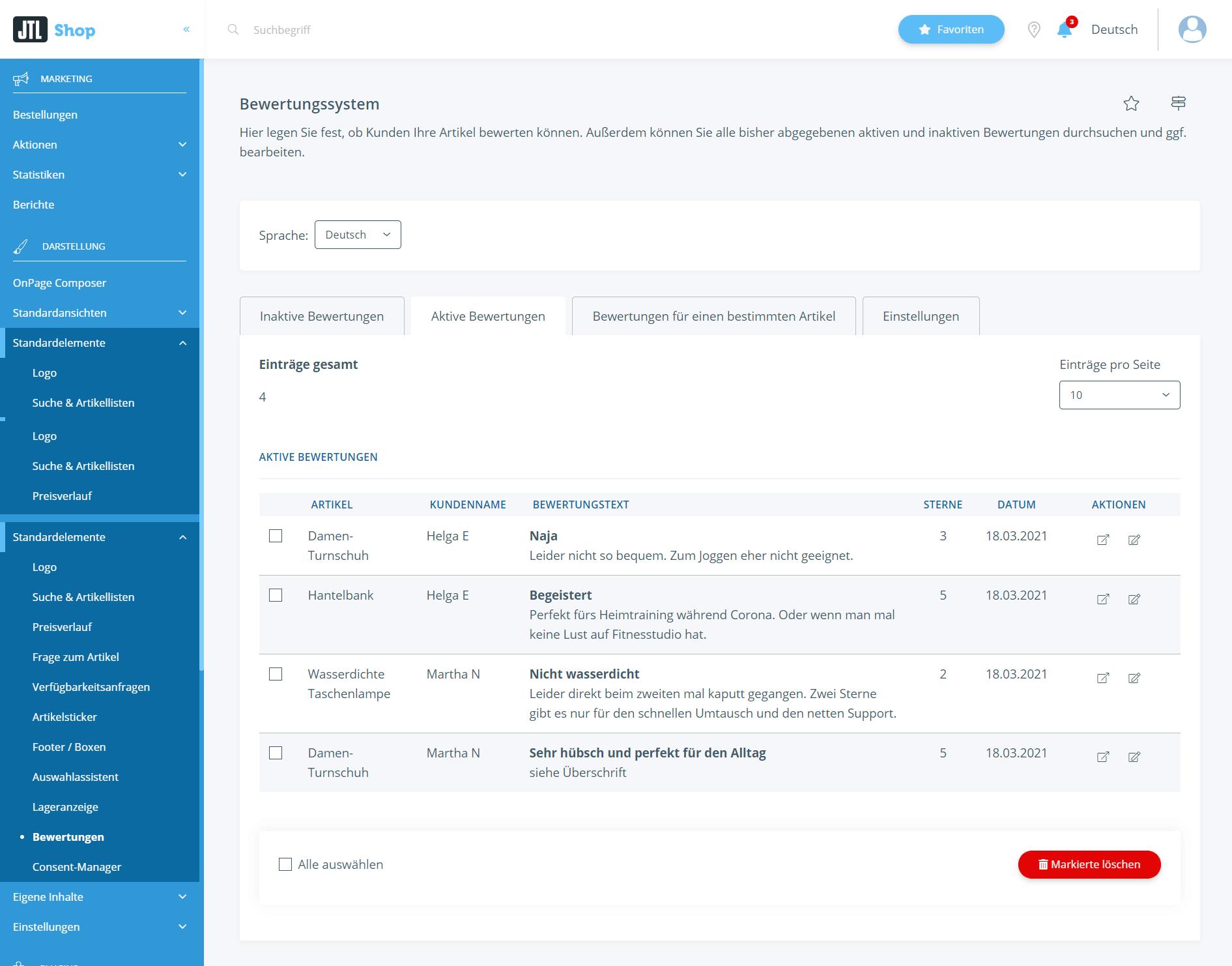 Bewertungen in JTL-Shop verwalten