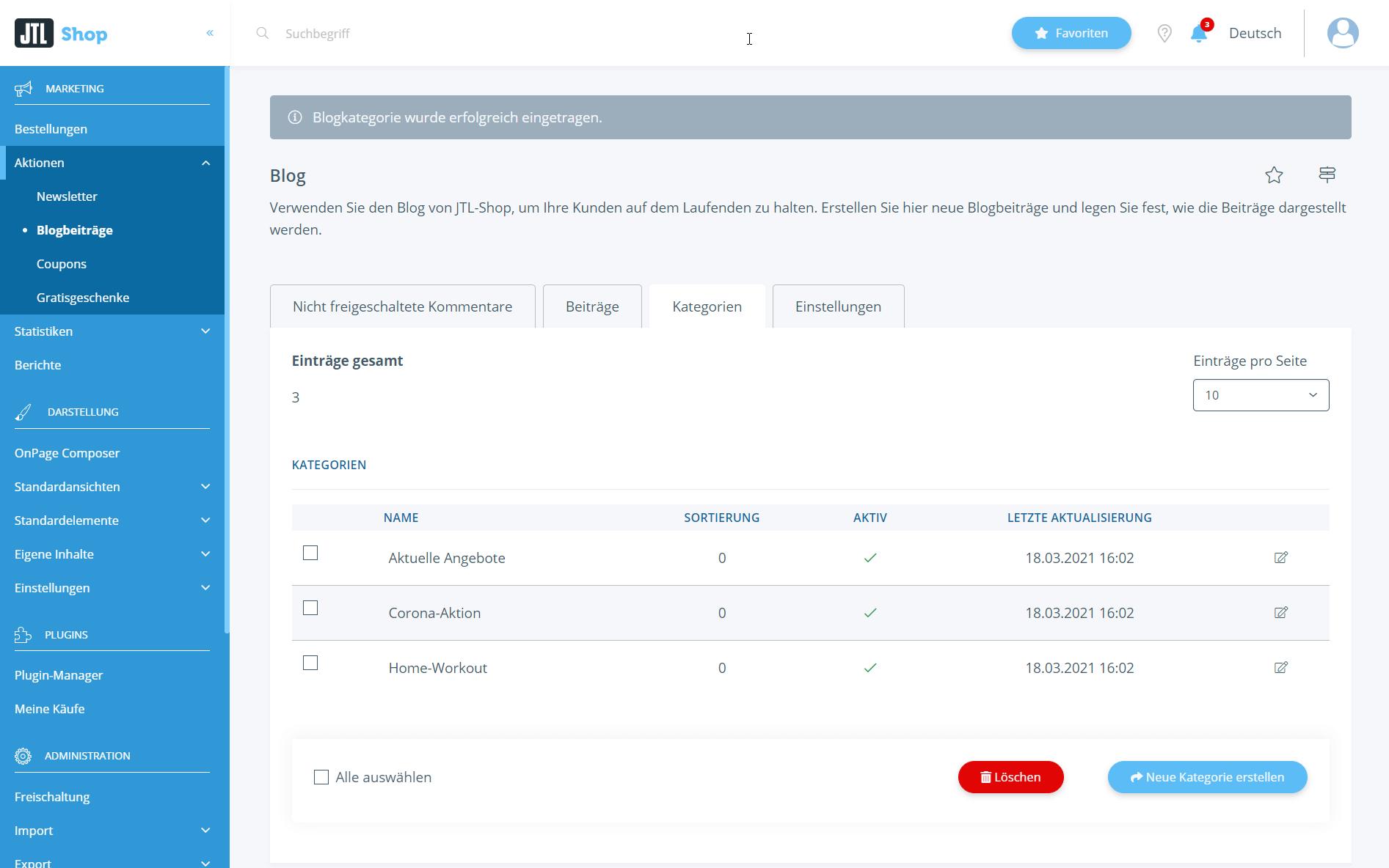 Kategorien im Blogsystem von JTL-Shop