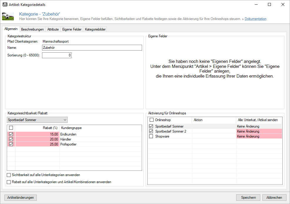 Rabatte für Kategorien im Onlineshop einrichten
