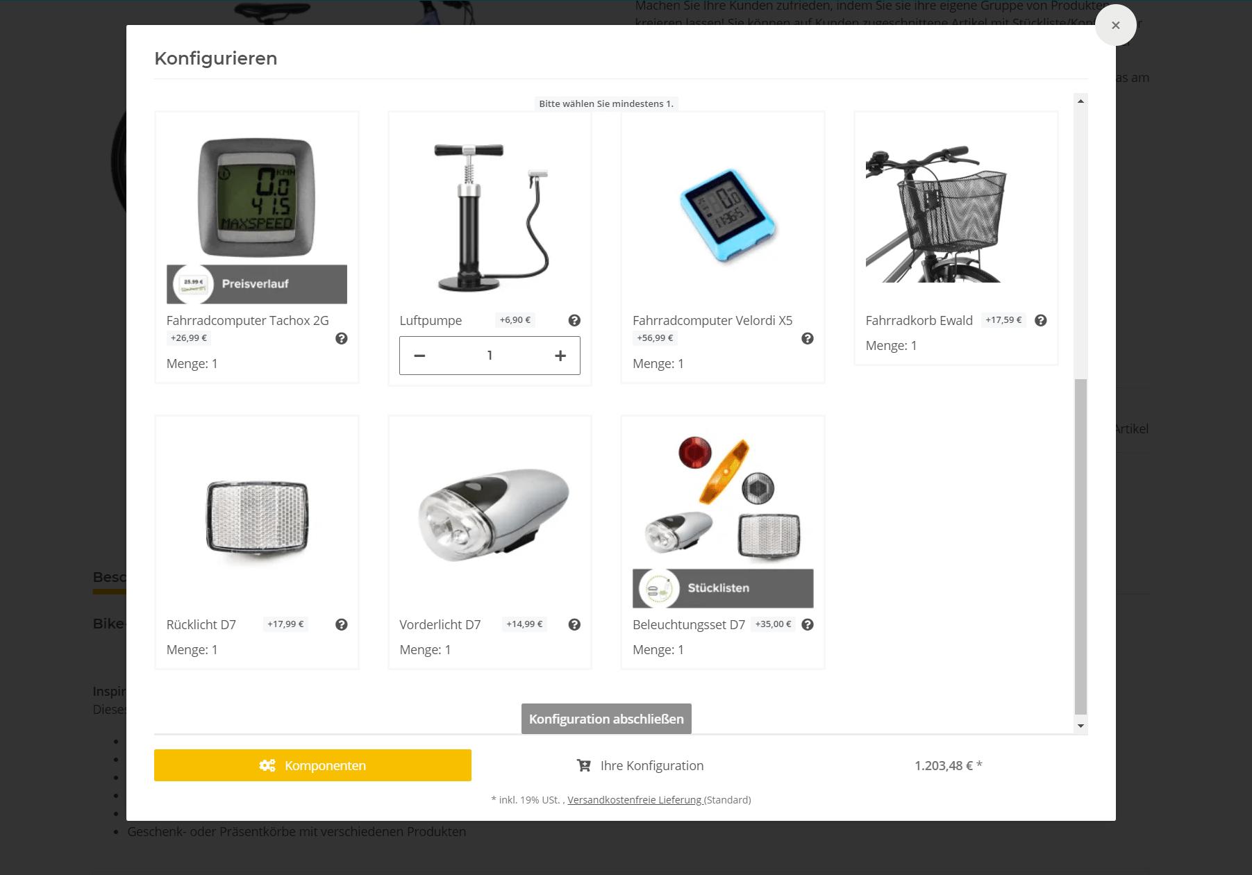 Artikel im Shop individuell konfigurieren