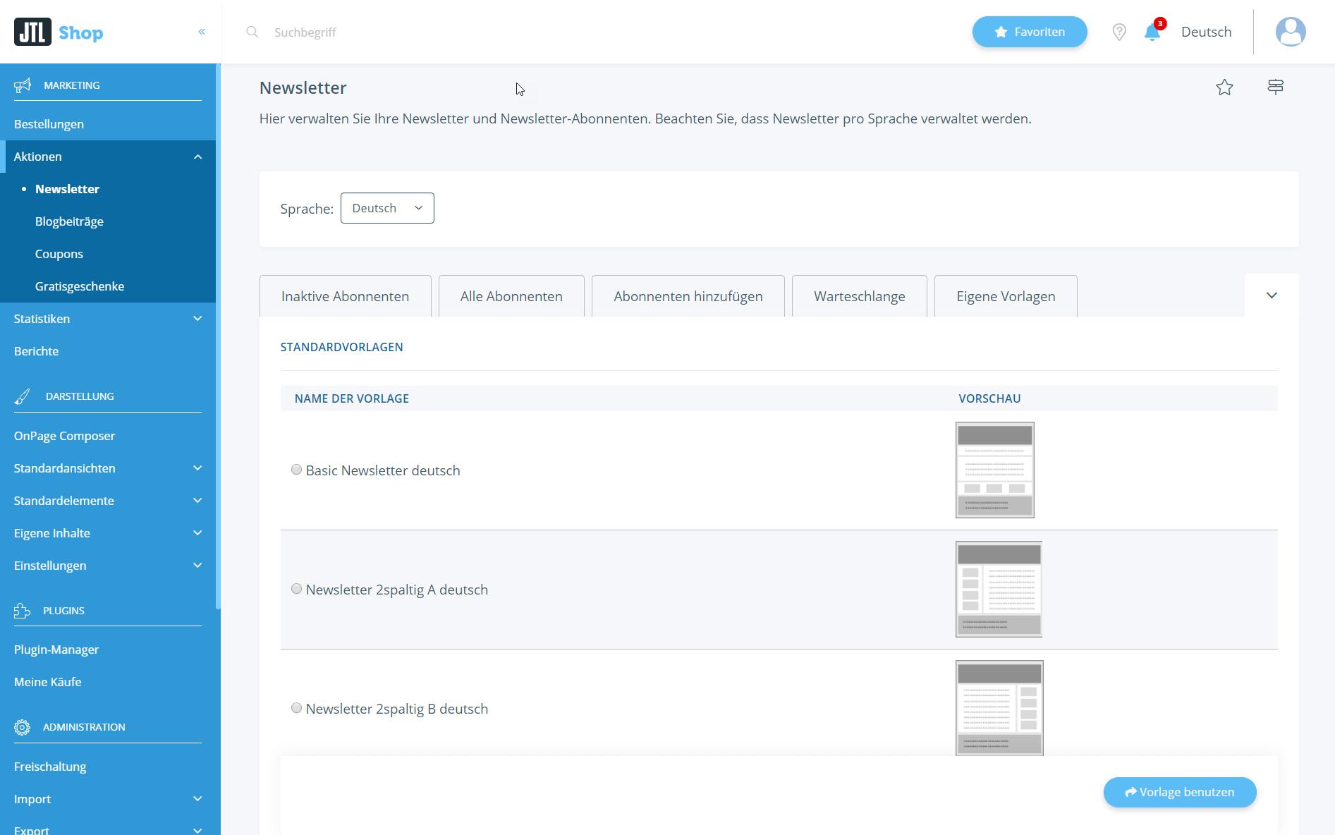 Mitgelieferte Standardvorlagen für Newsletter auswählen