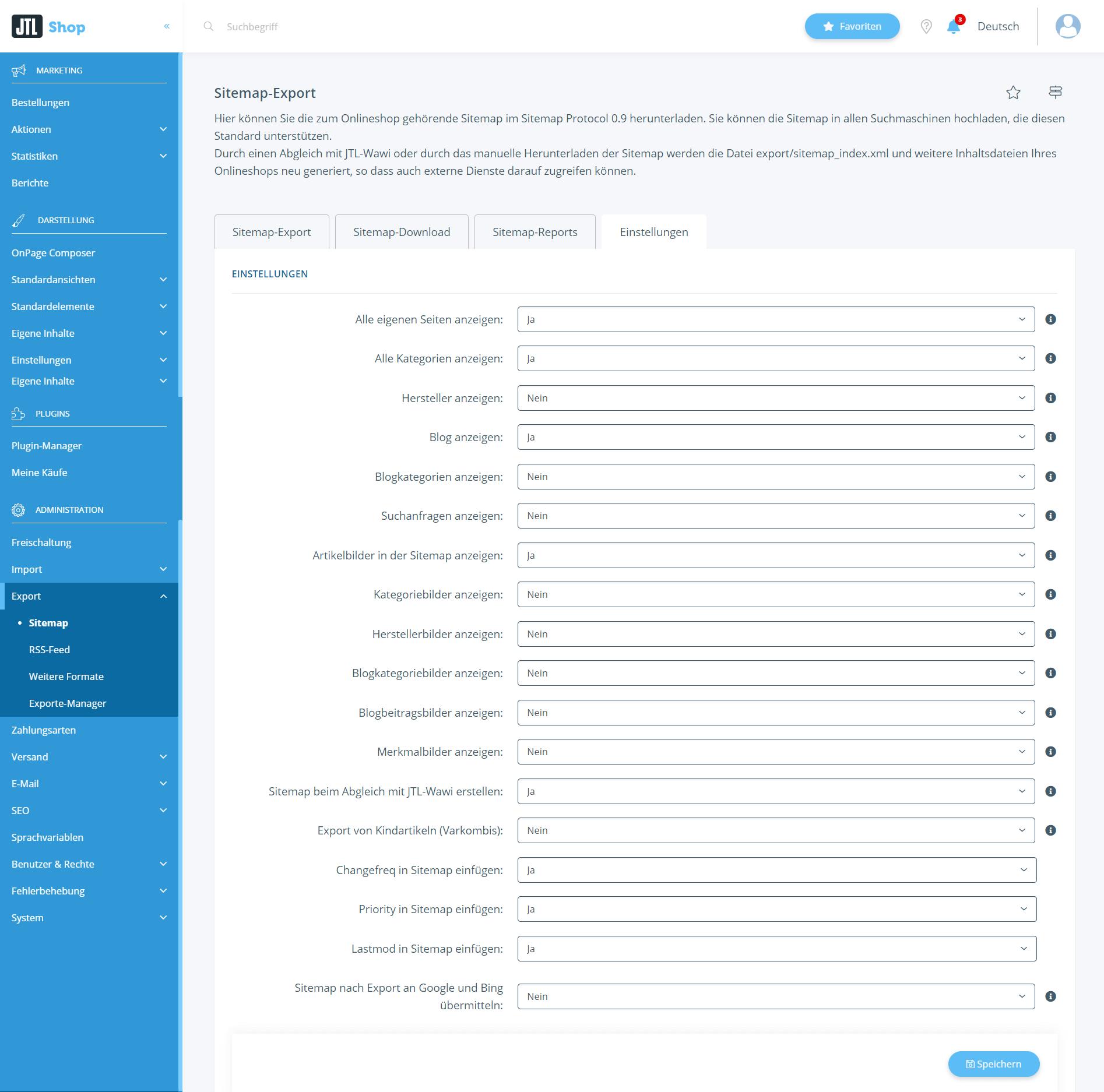 Einstellungen für den Sitemap-Export