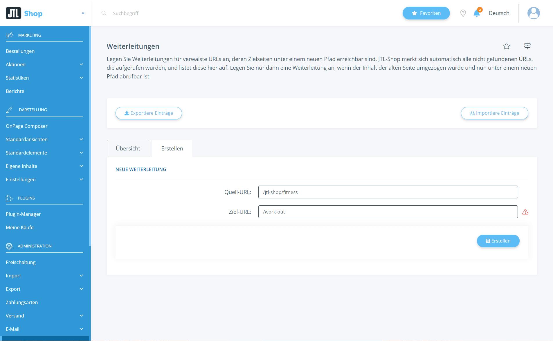 URL-Weiterleitungen anlegen