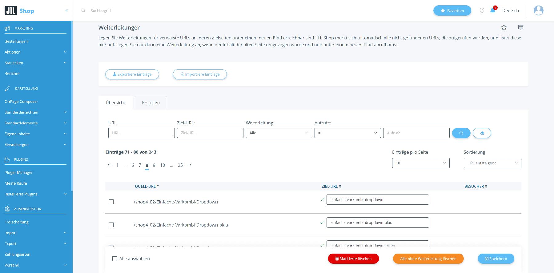 Übersicht zu URL-Weiterleitungen in JTL-Shop