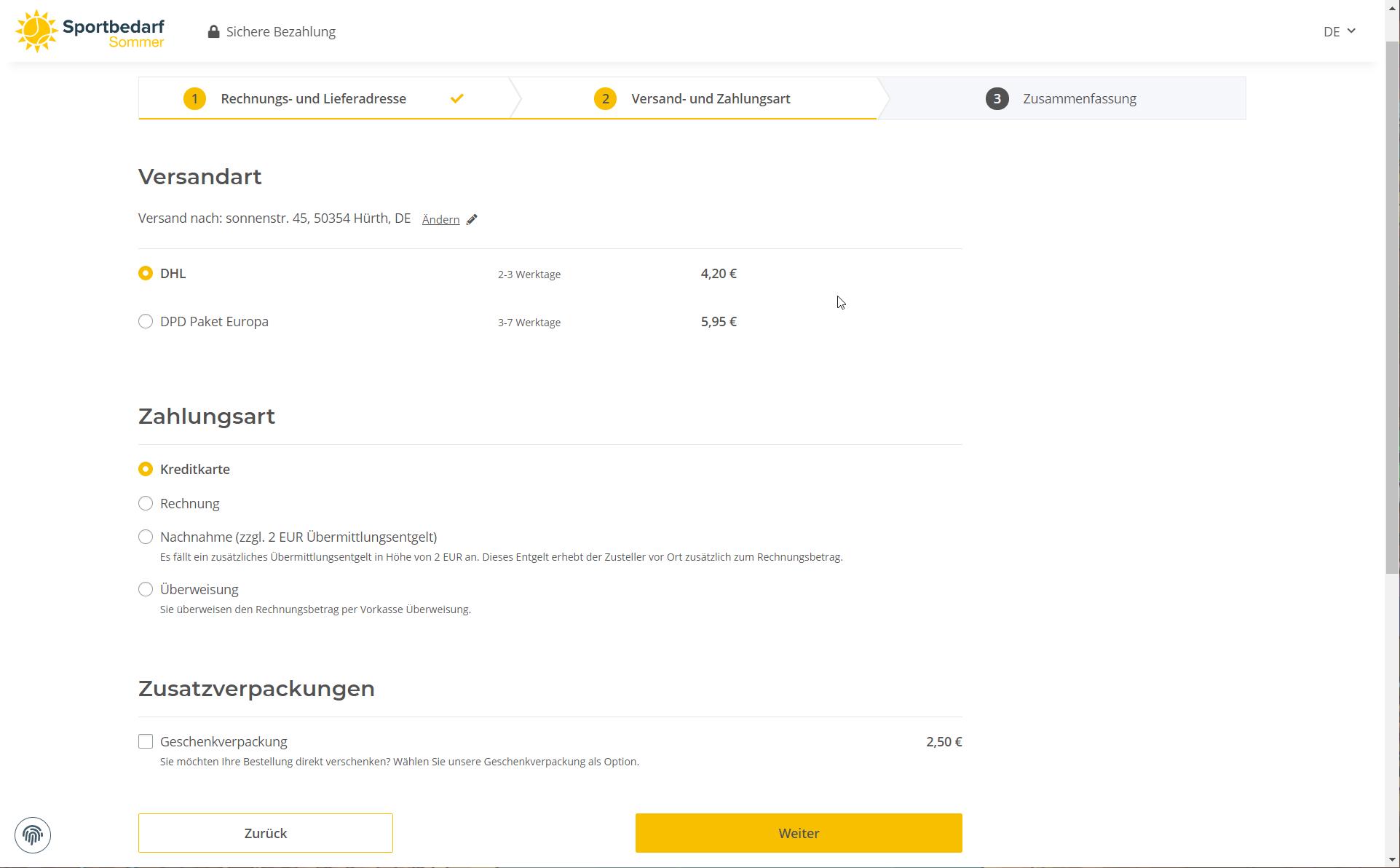 Zusatzverpackungen im Onlineshop anbieten