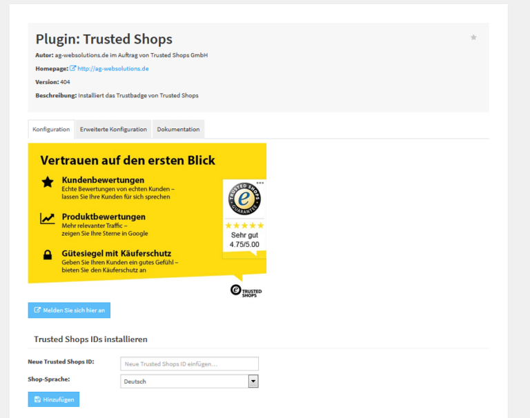 Plugin Einstellungen Trusted Shops