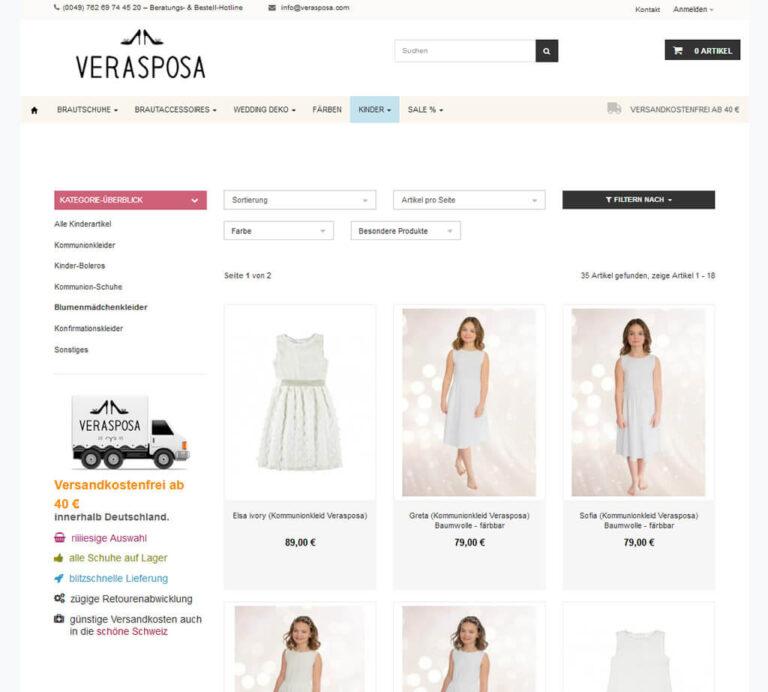 Kategorieansicht im Verasposa-Shop
