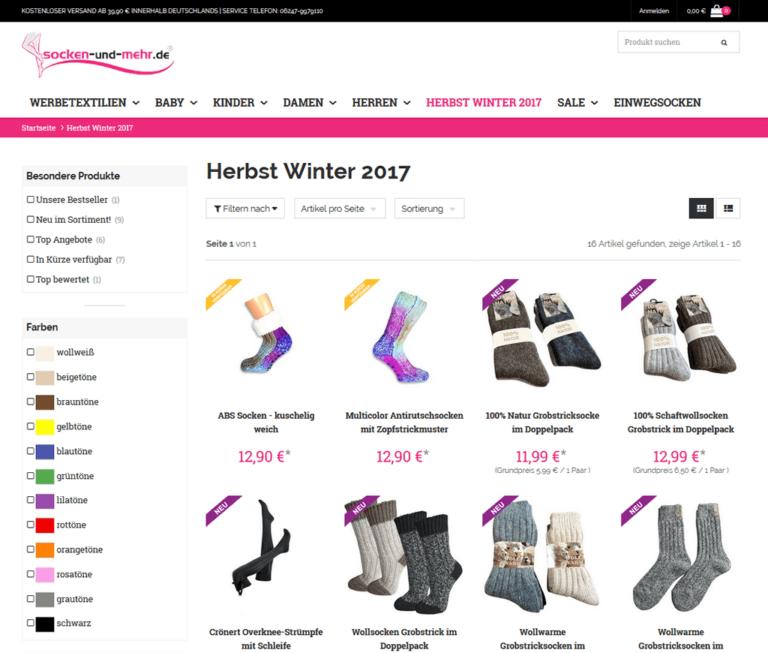 Socken und mehr - Kategorienansicht