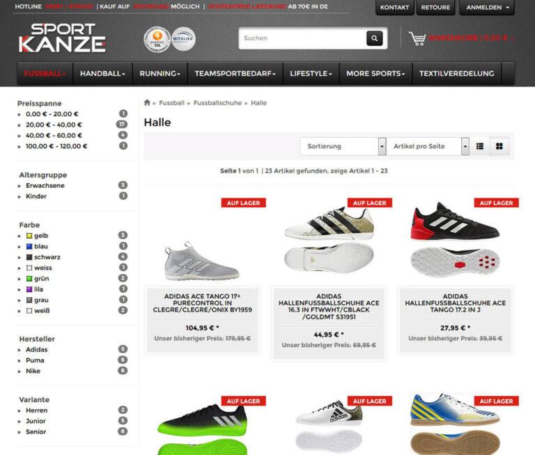 Shop-Kategorie bei Sport-Kanze