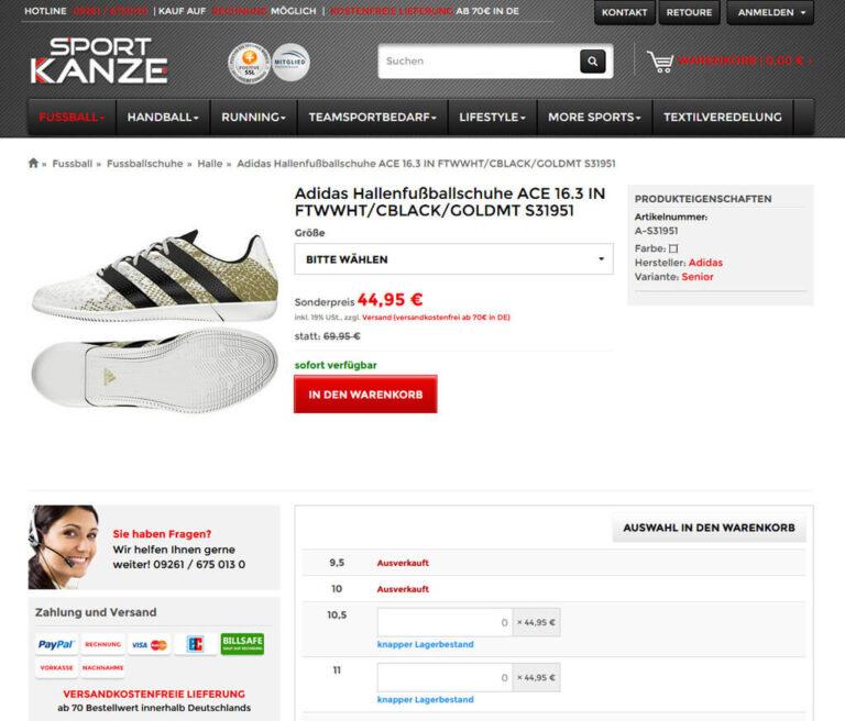 Shop-Produktdetail bei Sport-Kanze