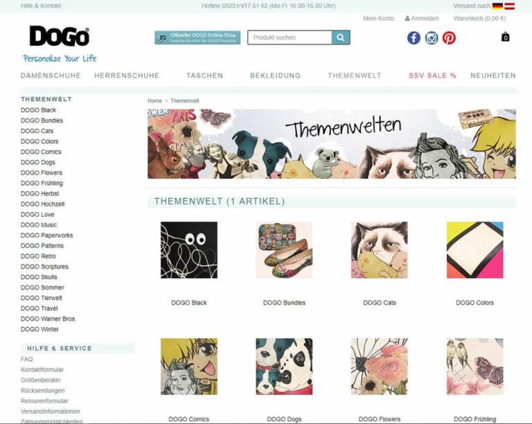 Themenwelten bei DoGo-Shoes