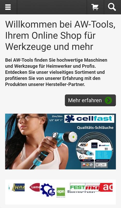 Mobile Startseite im Shop von AW Tools