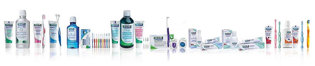 Sortiment zur Zahnpflege von Sunstar GUM