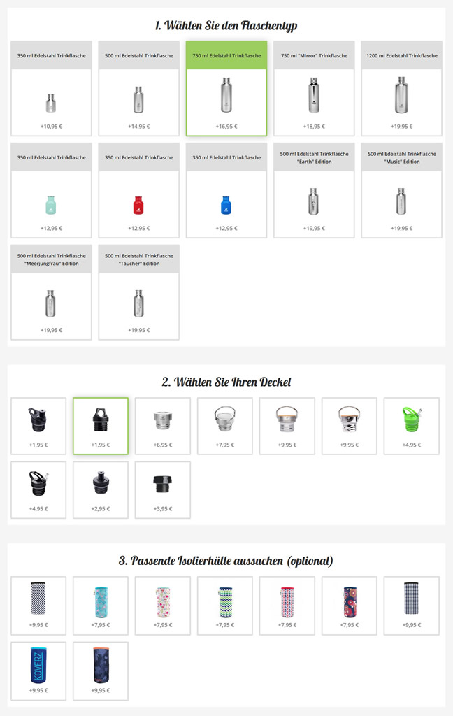 Auswahl im Shop-Konfigurator