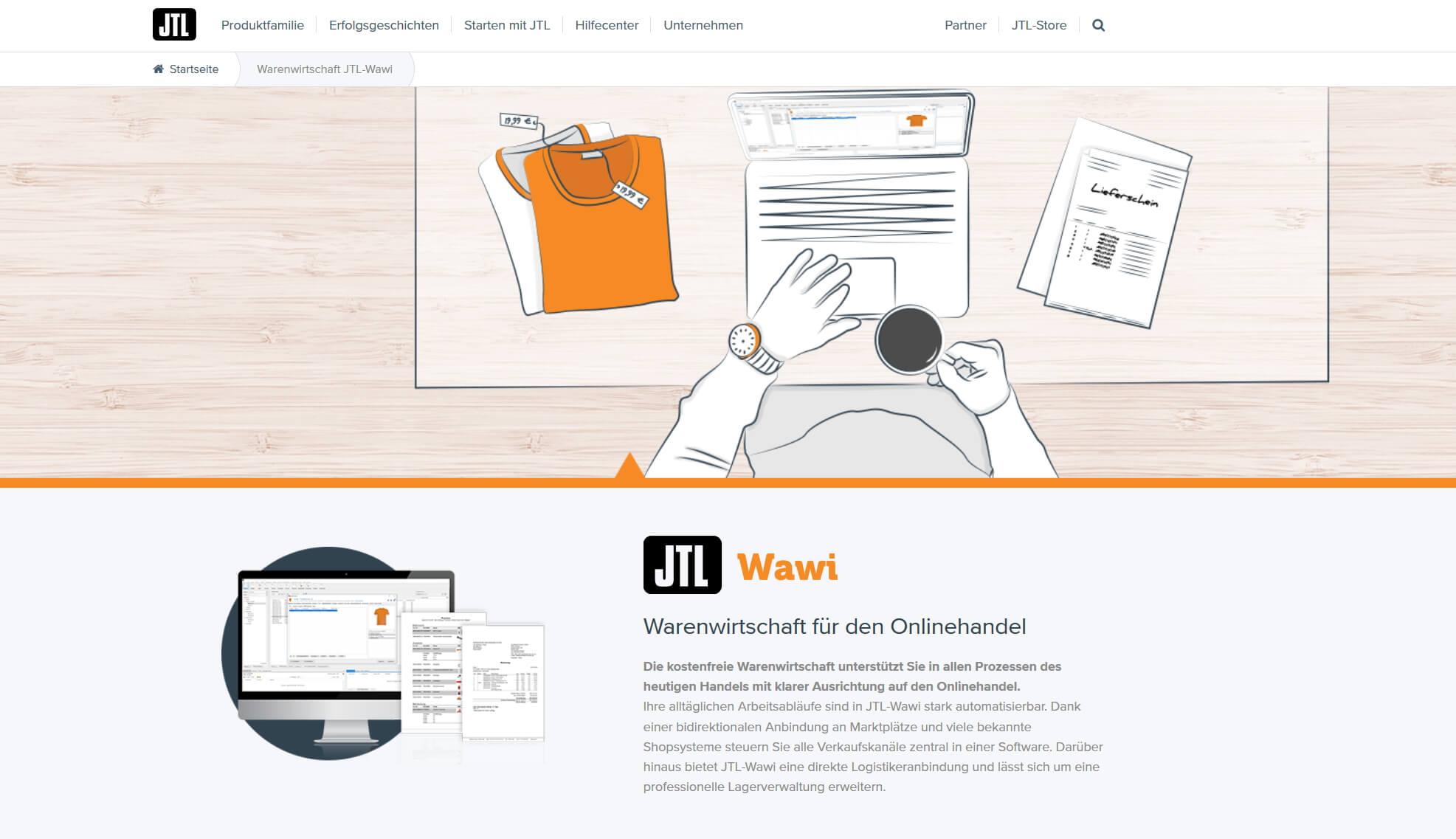 Produktseite JTL-Wawi