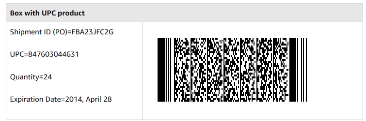 2D-Barcode für Amazon mit MHD