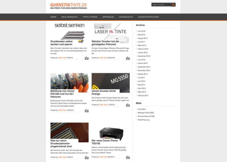 Aktuelle Kundennews bei Guenstigtinte
