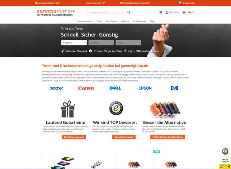 Shopware-Shop Startseite Guenstigtinte