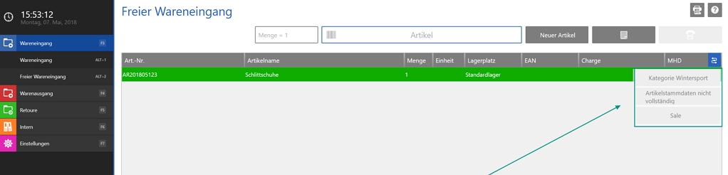 Screenshot von den manuellen Workflows in der Lagerverwaltung von JTL