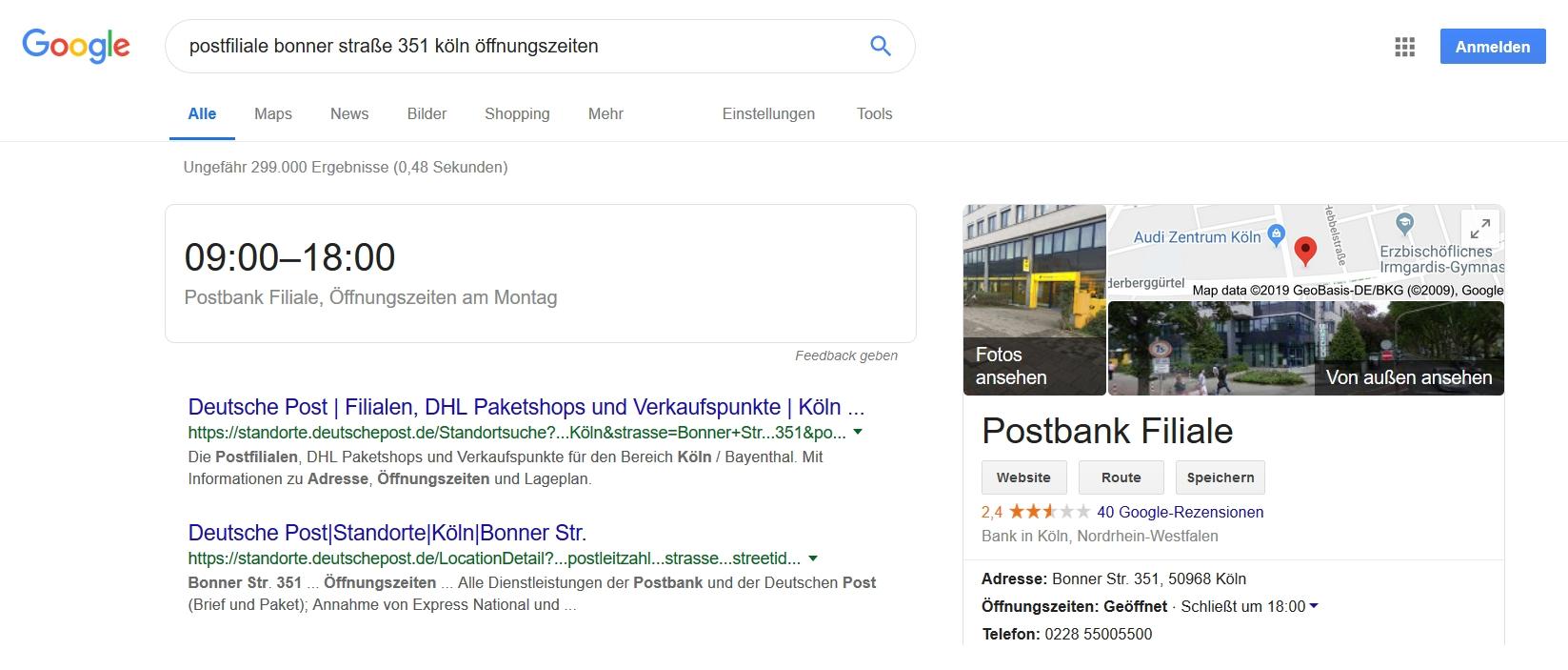 Screenshot von Google mit Öffnungszeiten